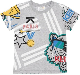 Kenzo Printed Cotton Blend Jersey T-Shirt