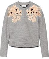 3.1 Phillip Lim Guipure Lace-Paneled Cotton-Blend Sweatshirt