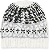 Neiman Marcus Mixed Fair Isle-Pattern Knit Hat, Black/White