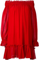 Alexander McQueen off-the-shoulder smock dress - women - Silk/Cotton - 40