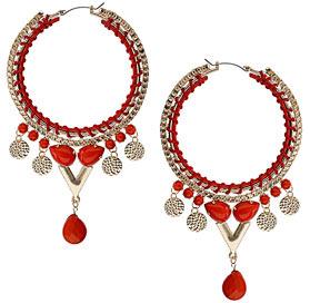 Dorothy Perkins Coral decorative hoop earrings