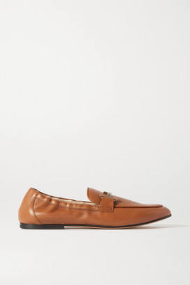Tod's Doppia Embellished Leather Loafers - Tan