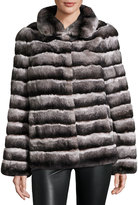 Gorski Stand-Collar Rabbit Fur Coat, Charcoal