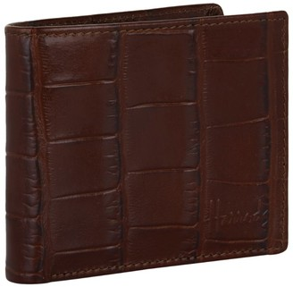 Harrods Crocodile Embossed Leather Bilfold Wallet
