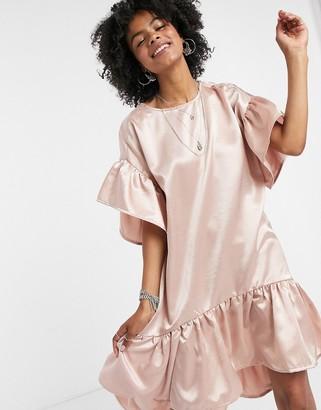 Vila satin drop hem dress in pink