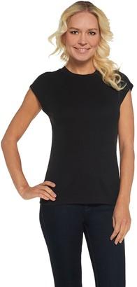 Lisa Rinna Collection Extended Shoulder Scoop Neck Tee