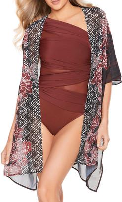 Miraclesuit Mendhika Printed Short Kimono Coverup Wrap