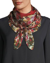 Neiman Marcus Floral-Print Silk Scarf