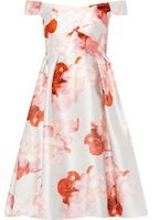 Dorothy Perkins Womens **Luxe Silver Floral Print Bardot Prom Dress- Silver