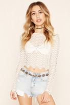 Forever 21 FOREVER 21+ Semi-Sheer Lace Crop Top