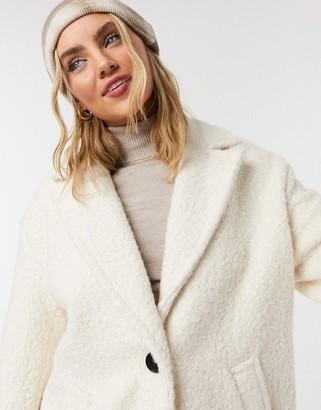 Bershka boucle coat in ecru