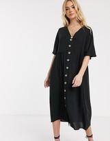 Asos Design DESIGN v neck button through midi smock dress in black