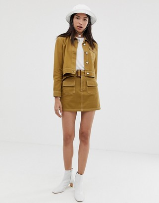 Northmore Denim organic cotton a-line utility mini skirt-Tan
