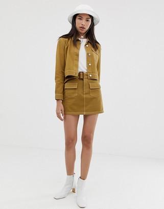 Northmore Denim organic cotton a-line utility mini skirt