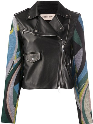 Emilio Pucci Abstract Print Biker Jacket