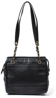 Chanel Black Caviar Leather Mini Cc Chain Tote