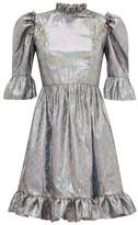 Batsheva Puffed-sleeve Lame Mini Dress - Womens - Silver
