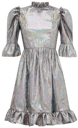 Batsheva Puff-sleeved Lame Mini Dress - Silver