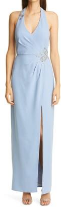 Marchesa Notte Halter V-Neck Embroidered Crepe Gown