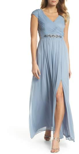 Adrianna Papell Shirred Chiffon Gown
