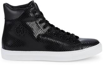 Roberto Cavalli Embossed Snakskin-Print Leather High-Top Sneakers