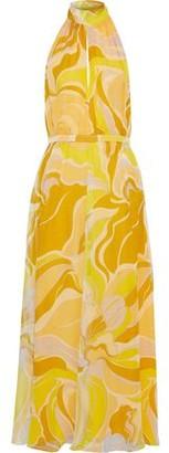 Emilio Pucci Printed Silk-chiffon Halterneck Maxi Dress