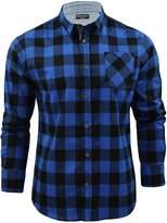 Brave Soul Mens Jack Checked Check Long Sleeve Cotton Lumberjack Shirt Bl - M
