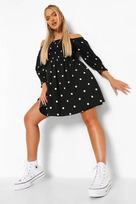 boohoo Polka Dot Shirred Bust Smock Dress