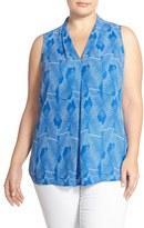 Vince Camuto Plus Size Women's Fan Print Pleat Front V-Neck Blouse