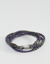 Paul Smith Leather Wrap Bracelet In Navy