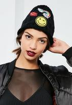 Missguided Black Ribbed Badge Beanie