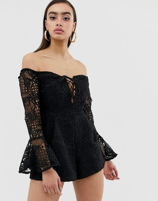 Lioness off shoulder lace playsuit with bell sleeve in black
