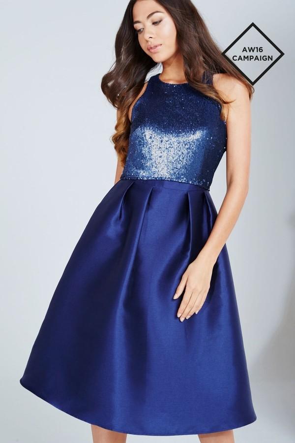 Little Mistress Navy Sequin Top Midi Dress