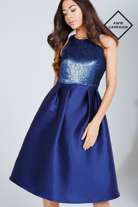 Little Mistress Navy Sequin Top Midi Dress