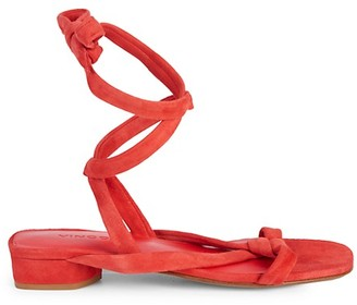 Vince Bonham Suede Criss-Cross Ankle Wrap Sandals