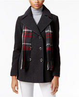 London Fog Double-Breasted Peacoat with Scarf