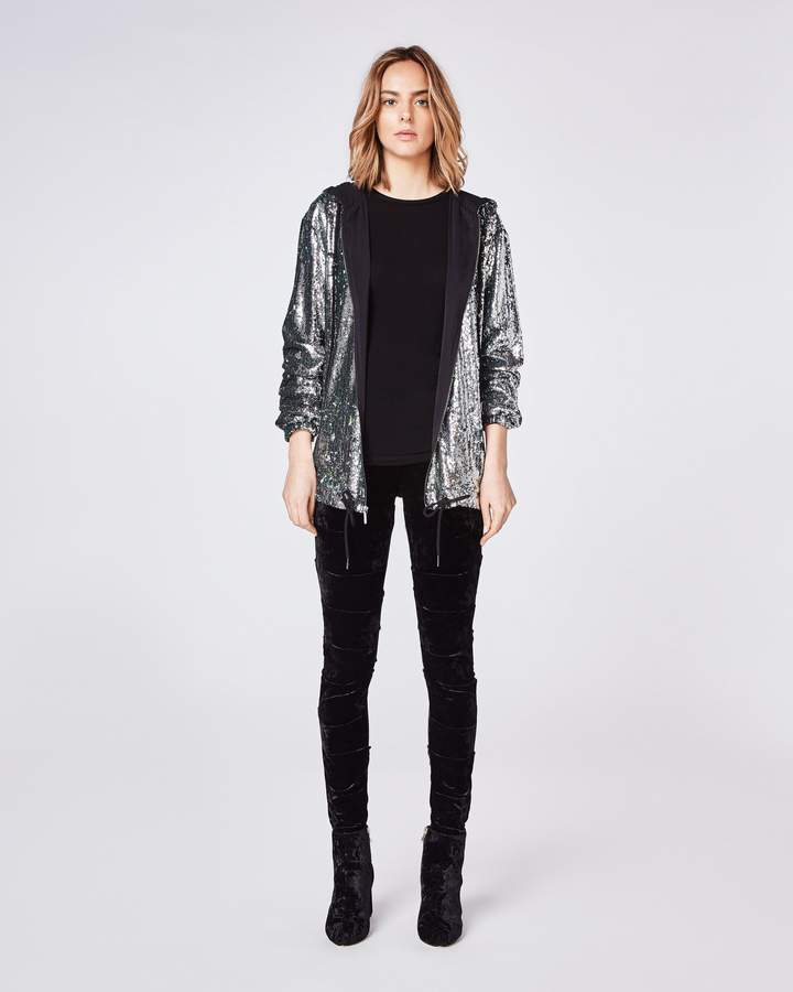 Nicole Miller Mermaid Sequin Zip Up Hoodie