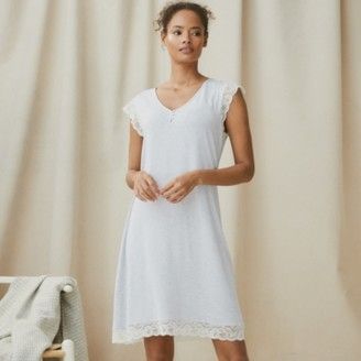 The White Company Lace Sleeve Jersey Nightie, Pale Blue Marl, Extra Small