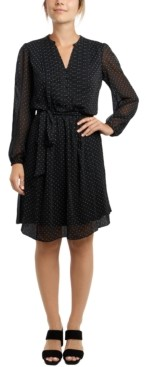 MSK Petite Long-Sleeve Pintuck Dress
