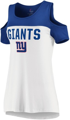 Majestic Women's White/Royal New York Giants Pure Dedication Open Shoulder T-Shirt