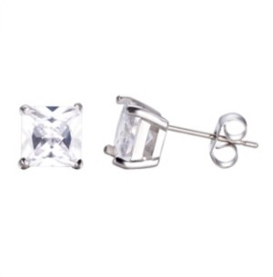 He Rocks Stainless Steel Clear Square Cubic Zirconia Earrings