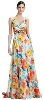 Theia 881628 Sleeveless Floral Print Silk Gown Dress