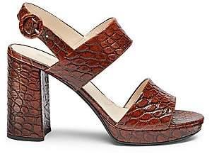 Prada Women's Platform Croc-Embossed Leather Sandals