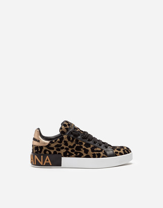 Dolce & Gabbana Portofino Sneakers In Color-Changing Leopard Fabric