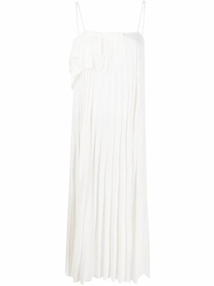 P.A.R.O.S.H. Tiered-Ruffle Pleated Midi Dress