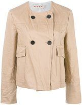 Marni crinkled double breasted jacket - women - Cotton/Linen/Flax/Acetate/Viscose - 38