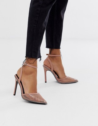 Asos Design DESIGN Pixie pointed high heels with studs-Pink