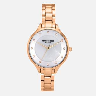 Kenneth Cole Rose Gold Tone Link Bracelet Watch with Crystal Stone Numerals