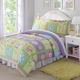 2 Piece Multi Girls Floral Comforter Twin Set, Gorgeous Flowerpot , Colorful Square Pattern, All Over Adorable Cheerful Flowers Print, Pink Purple Green Yellow, For Kids/Teens