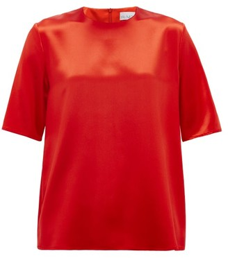 Raey Crew-neck Silk-satin Top - Red